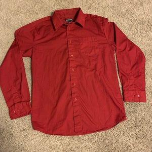 Red Button Down Dress Shirt Long Sleeve